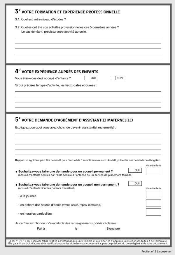 Formulaire de demande d'agrément (page 2)